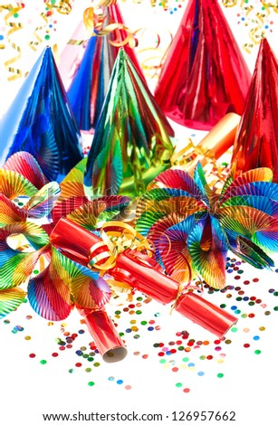 colorful decoration with garlands, streamer, party hats and confetti. festive background - stock photo
