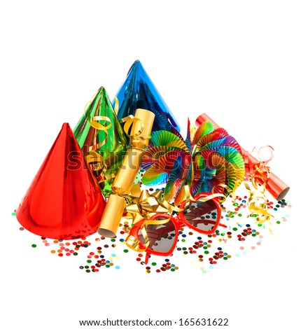 colorful decorations garlands, streamer, cracker, party glasses and confetti. festive accessories  - stock photo