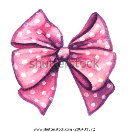Colorful decorative bow ribbon isolated on white background. Watercolor illustration - stock photo