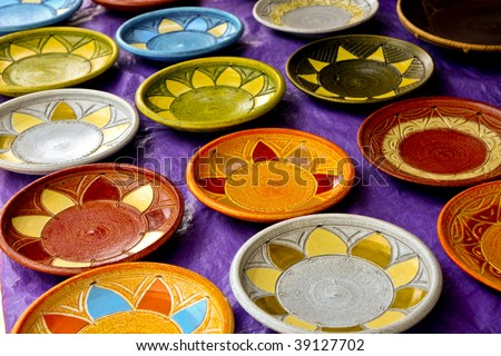Colorful decorative ceramic art plates at outdoor market in Ghana West Africa & Colorful Decorative Ceramic Art Plates Outdoor Stock Photo (Edit Now ...