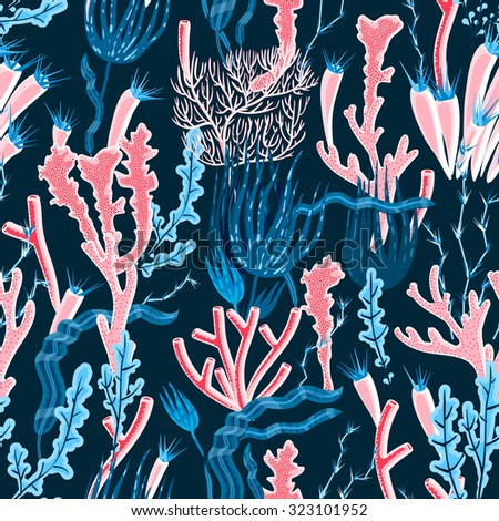Colorful deep sea coral and seaweed seamless pattern flat  illustration