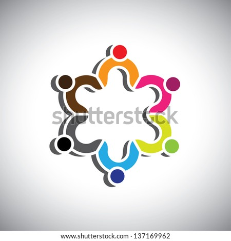 Colorful design of a group of people or children symbols. This graphic illustration can represent group of kids together or executives in meeting, unity among people, etc. - stock photo