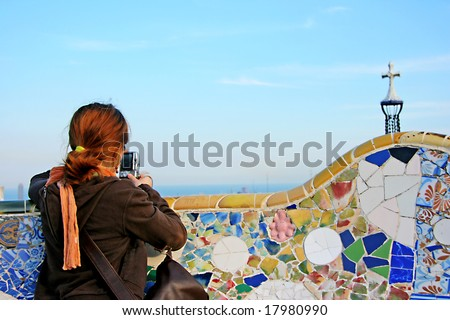 Colorful design of mosaic in Park Guell, Barcelona