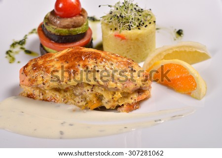 colorful dessert at the restaurant, mix fruits cake and macaron - stock photo