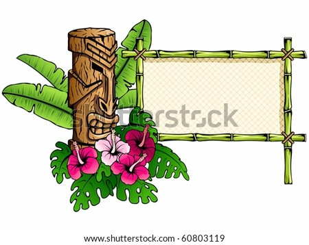 Colorful, detailed hawaiian banner with tiki statue (jpg); Eps10 version also available - stock photo