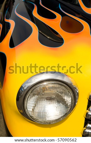 Colorful details on a Hot Rod Car - stock photo