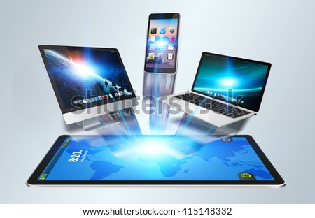 Colorful devices and icons applications interacting with each other '3D rendering' - stock photo