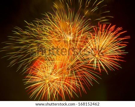 Colorful different colors, amazing fireworks against black sky - stock photo