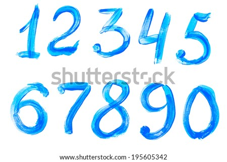 Colorful digits painted with watercolor isolated on white background - stock photo
