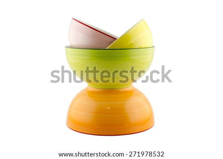 colorful dishes isolated on white - stock photo
