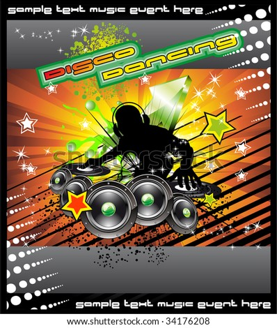 Colorful Disk Jockey Musical Event  Background for Disco Flyer
