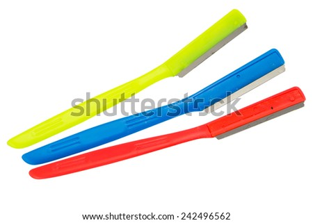 colorful disposable razor  isolated on white