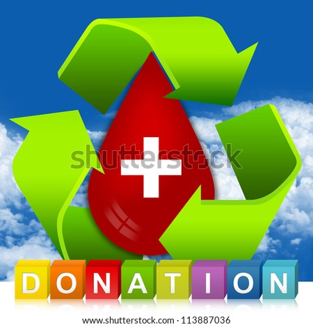 Colorful Donation Cube Box And Green Recycle Sign Around Red Blood Drop With White Cross Sign Inside For Blood Donation Concept In Blue Sky Background - stock photo