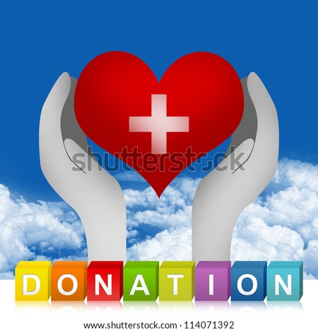 Colorful Donation Cube Box And Heart With Cross Sign Over The Hand For Heart Donation Concept in Blue Sky Background - stock photo