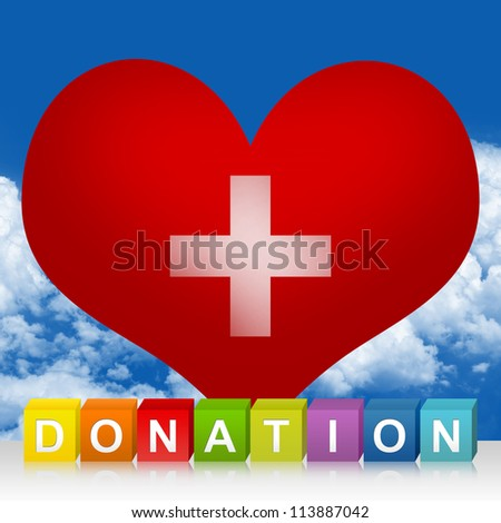 Colorful Donation Cube Box And Red Heart With Silver Metallic Cross Sign Inside For Heart Donation Concept In Blue Sky Background - stock photo