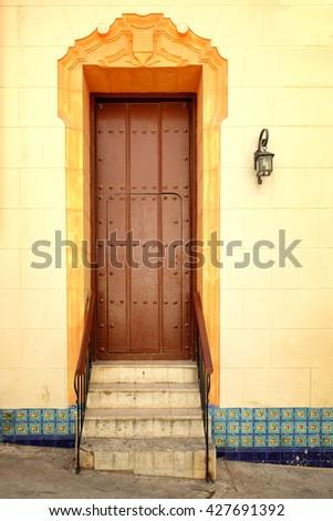 Colorful door at colonial Old Havana in Cuba - stock photo