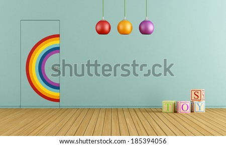 Colorful doors flush with the wall in a blue toys room - stock photo