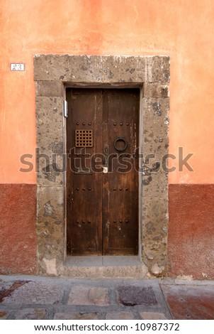Colorful doorway in San Miquel de Allende, Mexico - stock photo