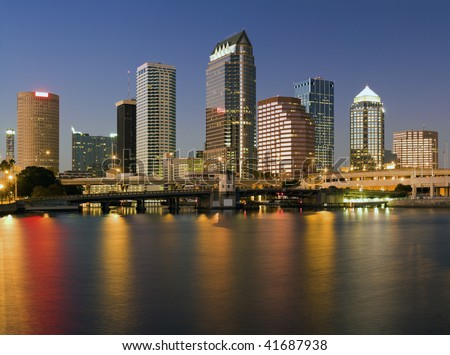 Colorful downtown of Tampa - sunset time. - stock photo