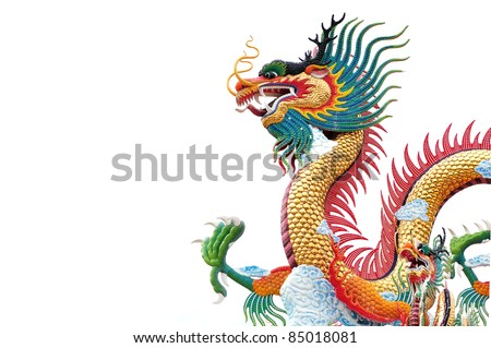 Colorful dragon statue isolated on white background - stock photo