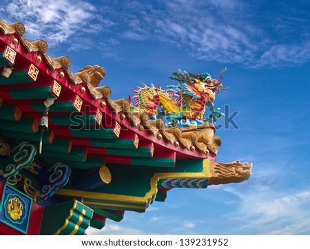 Colorful dragon statue on china temple roof and blue sky