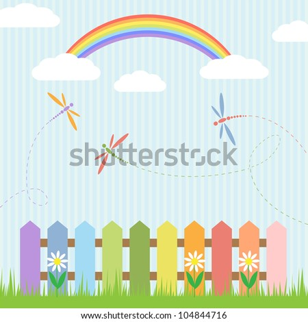 Colorful dragonflies with rainbow. Raster version - stock photo