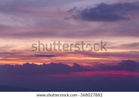 Colorful dramatic sky with cloud at sunset. Natural composition