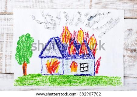 colorful drawing: burning house - stock photo