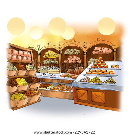 Colorful drawing of candy shop interior with cakes, pies and sweets - stock photo