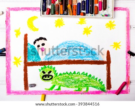 colorful drawing: scary monster under the children's bed - stock photo