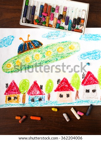 Colorful  drawing : UFO flying over the city - stock photo