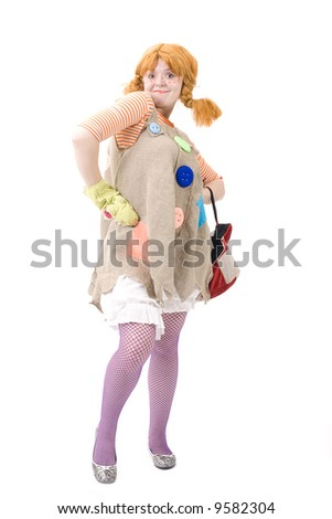 Colorful dressed female with bag, isolated over white