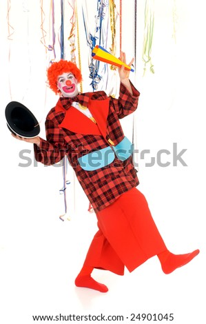Colorful dressed male holiday clown, happy joyful expression on face. Studio shot. - stock photo