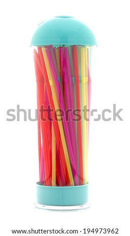 Colorful Drinking Straws in a Dispenser on a White Background