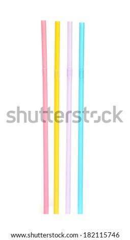 Colorful drinking straws on white background . - stock photo