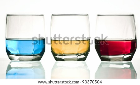 Colorful drinks on white background - stock photo