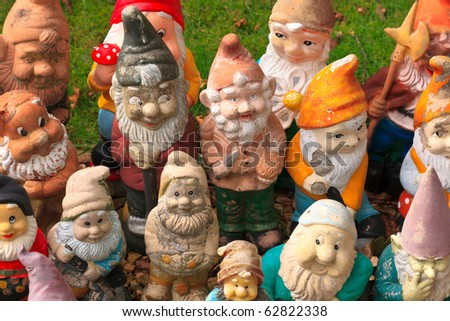 Colorful dwarf figures - stock photo