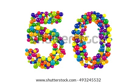 Colorful dynamic number 50 for a golden jubilee celebration or festive event formed of small multicolored balls in the colors of the rainbow isolated on white