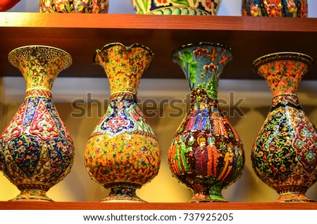 Colorful Earthenware Vases Stock Photo Royalty Free 737925205