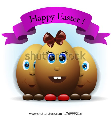colorful easter card - stock photo