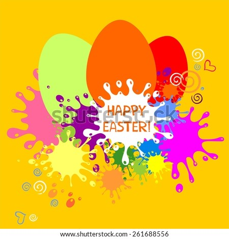 Colorful Easter card. Yellow blots background.  Illustration  - stock photo