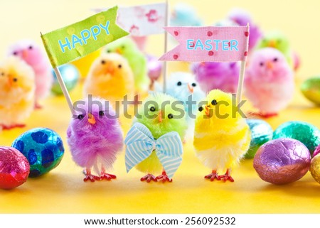 Colorful easter chenille chicklets in various bright  colors - stock photo