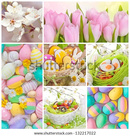 Colorful easter collage with eggs and flowers - stock photo