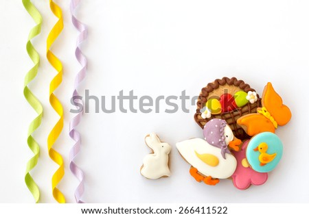 Colorful easter cookies isolated on white background