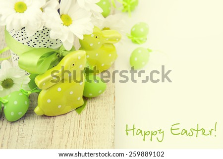 Colorful easter eggs and easter rabbit  - stock photo