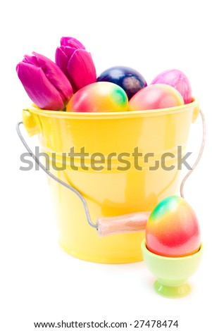 colorful easter eggs and purple tulips isolated on white