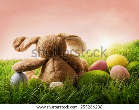 Colorful easter eggs and rabbit on green grass - stock photo