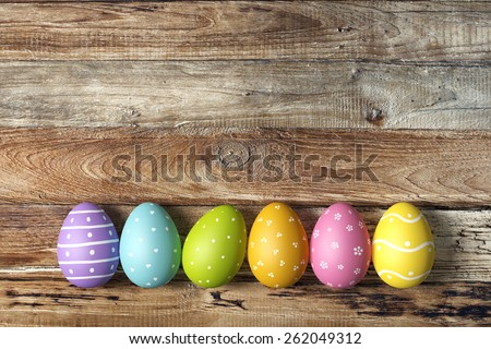 Colorful easter eggs background - stock photo