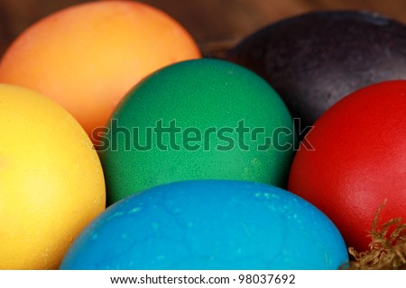Colorful easter eggs close up - stock photo