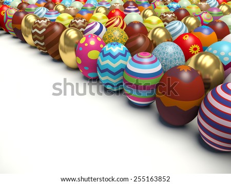 Colorful Easter eggs. 3d render illustration. - stock photo